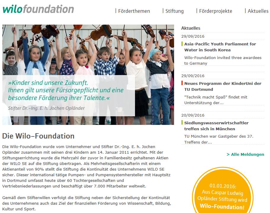 WILO Foundation unterstützt mit großzügiger Spende